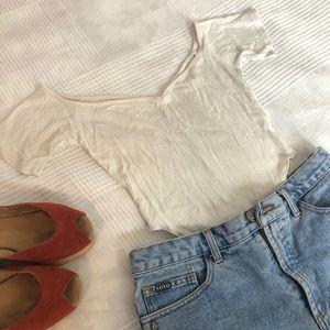 Ribbed white high leg high thigh cut bodysuit